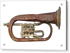Wrinkled Old Trumpet Acrylic Print by Michal Boubin