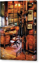 Writer - A Hard Day At Work Acrylic Print by Mike Savad