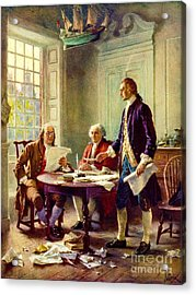 Writing Declaration Of Independence Acrylic Print by Pg Reproductions