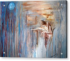 Writing My Heart Out. Acrylic Print by Gladiola Sotomayor