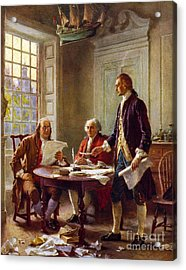 Writing The Declaration Of Independence, 1776, Acrylic Print by Leon Gerome Ferris