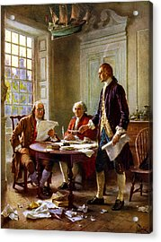 Writing The Declaration Of Independence Acrylic Print by War Is Hell Store