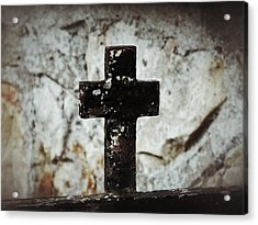 Wrought Iron Cross Against Stone Acrylic Print