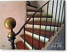 Wrought Iron Handrail Of An Old Staircase Acrylic Print by Sami Sarkis