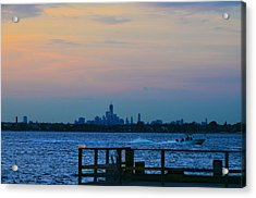 Wtc Over Jamaica Bay From Rockaway Point Pier Acrylic Print