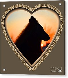 Wuffstar Happiness Is A Long Haired German Shepherd Heart Acrylic Print