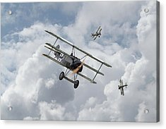 Acrylic Print featuring the photograph Ww1 - Fokker Dr1 - Predator by Pat Speirs
