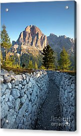 Wwi Trenches - Dolomites Acrylic Print by Brian Jannsen