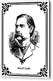 Acrylic Print featuring the mixed media Wyatt Earp Newspaper Portrait  1896 by Daniel Hagerman