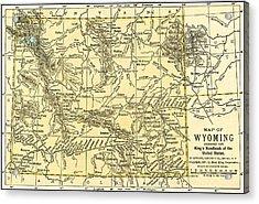 Wyoming Antique Map 1891 Acrylic Print