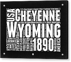 Wyoming Black And White Word Cloud Map Acrylic Print
