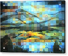 Acrylic Print featuring the painting Wyoming Quilt by Dawn Senior-Trask