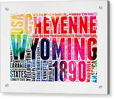 Wyoming Watercolor Word Cloud Map Acrylic Print by Naxart Studio