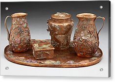 Acrylic Print featuring the sculpture Wyoming Wildflowers Bronze Set by Dawn Senior-Trask