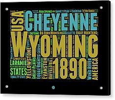 Wyoming Word Cloud Map 1 Acrylic Print by Naxart Studio