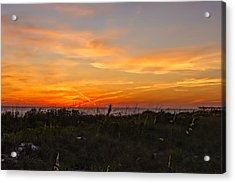 X Marks The Spot Sunset At The Pier  -  Xmkpier96 Acrylic Print by Frank J Benz