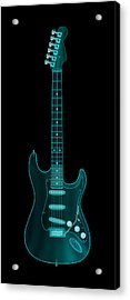 Acrylic Print featuring the digital art X-ray Electric Guitar by Michael Tompsett
