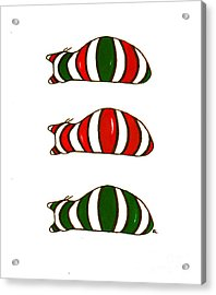 Acrylic Print featuring the drawing Xmas Stacking Cats by Rachel Lowry