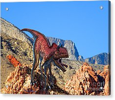 Xuanhanosarus In The Desert Acrylic Print by Frank Wilson