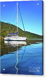 Acrylic Print featuring the photograph Yacht Reflecting By Kaye Menner by Kaye Menner