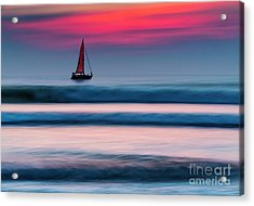 Yacht Sailing At Sunset Acrylic Print