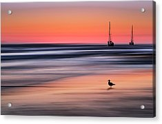 Yachts  At Sunset Widemouth Bay, Cornwall, Uk. Acrylic Print