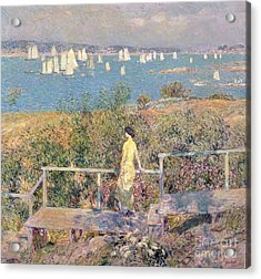 Yachts In Gloucester Harbor Acrylic Print by Childe Hassam