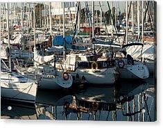 Yachts In The Lisboa Dock  Acrylic Print by Maryia Isachenka