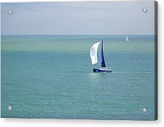 Yachts Sailing In Ventnor Bay Acrylic Print by Rod Johnson