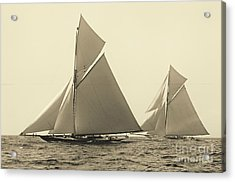 Yachts Valkyrie II And Vigilant Race For Americas Cup 1893 Acrylic Print by Padre Art