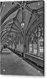 Acrylic Print featuring the photograph Yale University Cloister Hallway II Bw by Susan Candelario