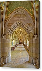 Acrylic Print featuring the photograph Yale University Cloister Hallway by Susan Candelario
