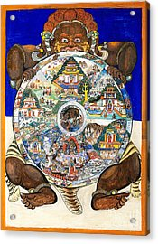 Yama, Hindu God Of Death, With Wheel Acrylic Print by Wellcome Images