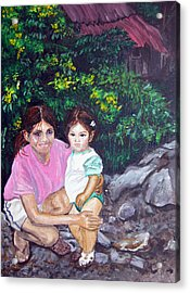 Yamileth And Daughter Acrylic Print by Sarah Hornsby