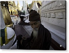 Yangon Bearded Monk Acrylic Print