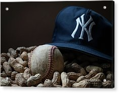 Yankee Cap Baseball And Peanuts Acrylic Print by Terry DeLuco