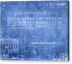 Yankee Stadium New York City Blueprints Acrylic Print by Design Turnpike