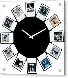 yankees Clock Acrylic Print by Paul Van Scott