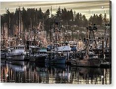 Acrylic Print featuring the photograph Yaquina Bay Boat Basin At Dawn by Thom Zehrfeld