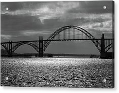 Yaquina Bay Bridge Black And White Acrylic Print by James Eddy