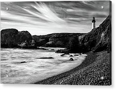 Yaquina Head Lighthouse 1 Black And White Acrylic Print