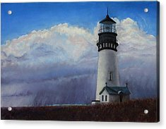 Yaquina Head Storm Acrylic Print by Carl Capps