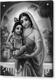 Yashoda And  Krishna Black-white Acrylic Print