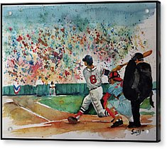 Yaz At The Plate Acrylic Print by Fred Smith
