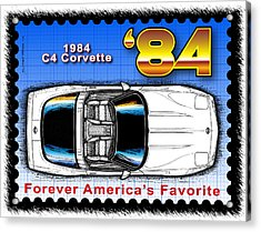Year-by-year 1984 Corvette Postage Stamp Acrylic Print