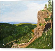 Acrylic Print featuring the painting Yehiam Fortress by Linda Feinberg