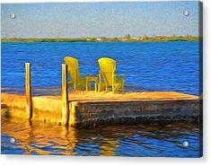 Yellow Adirondack Chairs On Dock In Florida Keys Acrylic Print