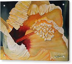 Acrylic Print featuring the painting Yellow Aloha Flower by Terri Thompson
