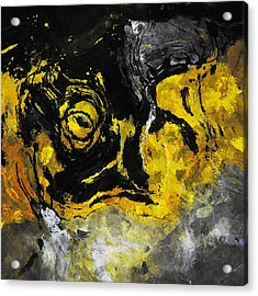 Acrylic Print featuring the painting Yellow And Black Abstract Art by Ayse Deniz