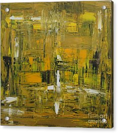 Yellow And Black Abstract Acrylic Print